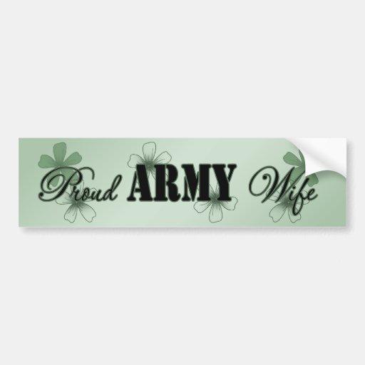 Proud Army Wife Green Flowers Bumper Sticker
