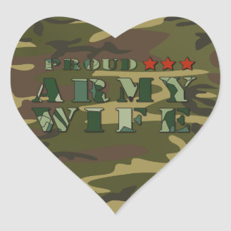 Proud Army Wife Heart Stickers