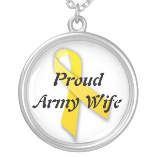 Proud army wife neckalce round pendant necklace