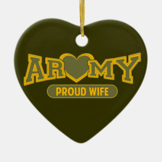 Proud Army Wife Double-Sided Heart Ceramic Christmas Ornament