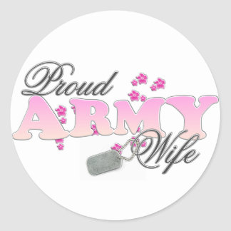 Proud Army Wife pink Round Sticker