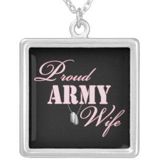 Proud Army Wife Square Pendant Necklace