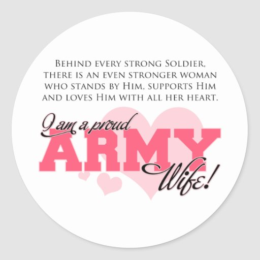 Proud Army Wife Round Stickers