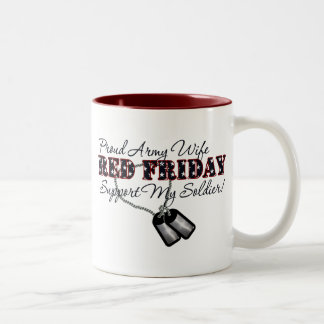 Proud Army Wife (Support My Soldier) Two-Tone Coffee Mug