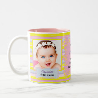 Proud Aun Pink and Yellow Stripes with Baby Photos Two-Tone Coffee Mug