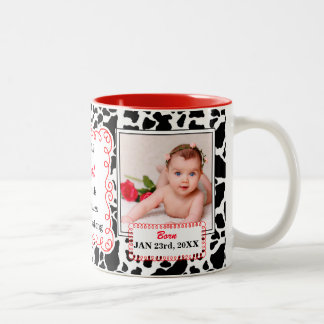 Proud Aunt Black White and Red Cow Print Baby Two-Tone Coffee Mug