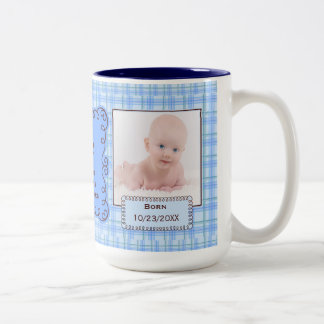 Proud Aunt Boy's Blue Plaid with Baby Photos Two-Tone Coffee Mug
