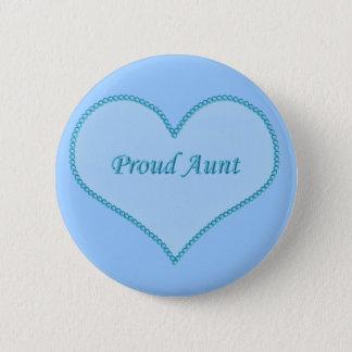 Proud Aunt Button, Blue Pinback Button