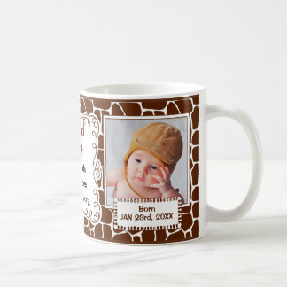 Proud Aunt Giraffe Print with Baby Photos Coffee Mug