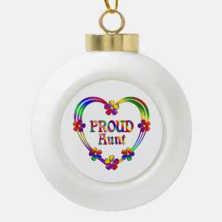 Proud Aunt Heart Ceramic Ball Christmas Ornament