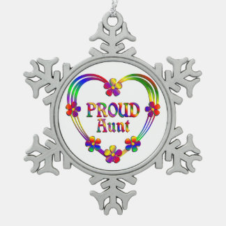 Proud Aunt Heart Snowflake Pewter Christmas Ornament
