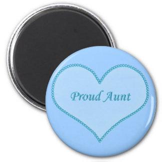Proud Aunt Magnet, Blue 2 Inch Round Magnet
