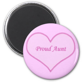 Proud Aunt Magnet, Pink 2 Inch Round Magnet