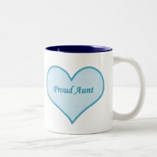Proud Aunt Mug, Blue Two-Tone Coffee Mug