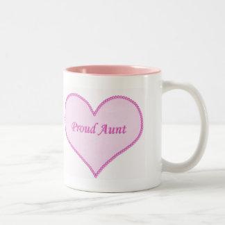 Proud Aunt Mug, Pink Two-Tone Coffee Mug