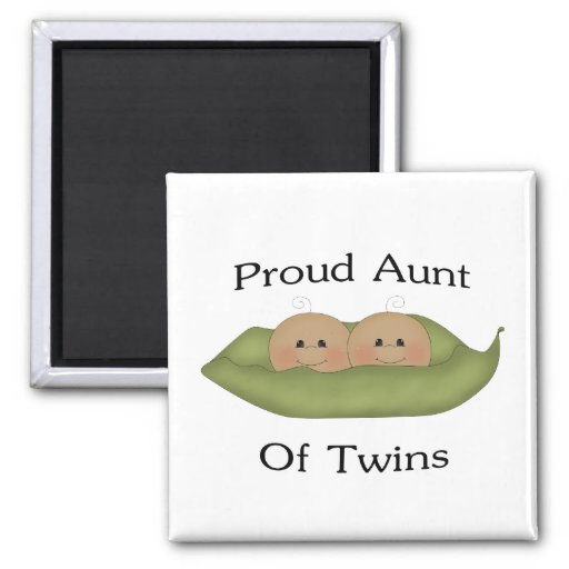 Proud Aunt Of Twins 2 Inch Square Magnet