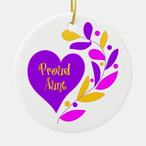 Proud Aunt Double-Sided Ceramic Round Christmas Ornament
