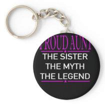 Proud Aunt Sister Myth Legend Pink Keychain