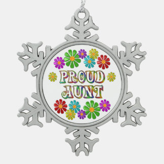 Proud Aunt Snowflake Pewter Christmas Ornament