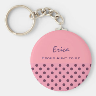 Proud Aunt-To-Be Cute Polka Dot Keychain Gift