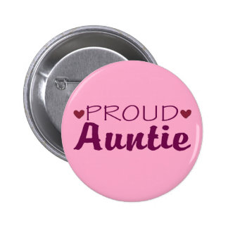 Proud auntie cute heart pink button