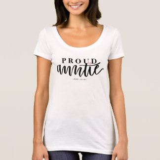 Proud Auntie - Hand Lettered Brush Calligraphy T-Shirt