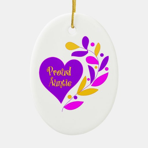 Proud Auntie Heart Christmas Tree Ornament