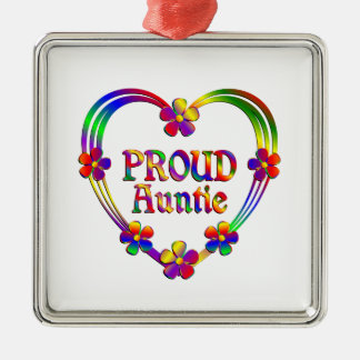Proud Auntie Heart Metal Ornament