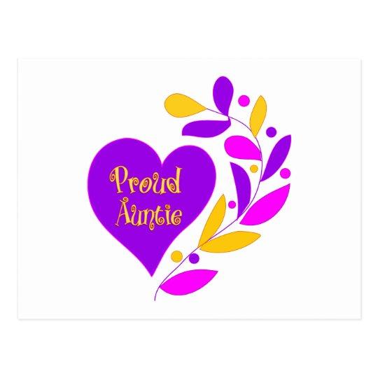 Proud Auntie Heart Postcard
