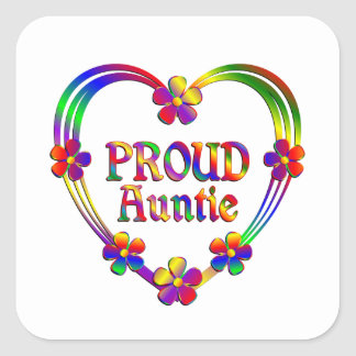 Proud Auntie Heart Square Sticker