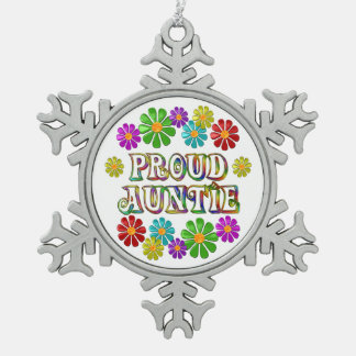 Proud Auntie Snowflake Pewter Christmas Ornament