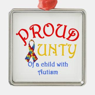 Proud Aunty Autism Metal Ornament