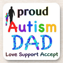Proud Autism Dad Beverage Coaster