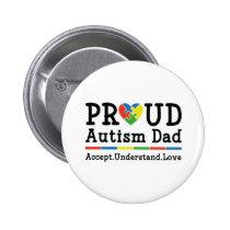 Proud Autism Dad Button