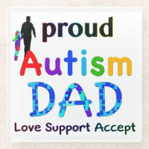 Proud Autism Dad Glass Coaster