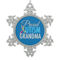 Proud Autism Grandma Snowflake Pewter Christmas Ornament