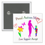Proud Autism Mom 2 Inch Square Button