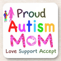 Proud Autism Mom Beverage Coaster