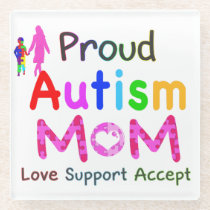 Proud Autism Mom Glass Coaster