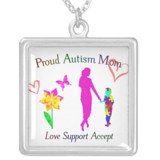 Proud Autism Mom Silver Plated Necklace