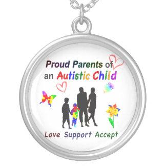 Proud Autism Parents Silver Plated Necklace