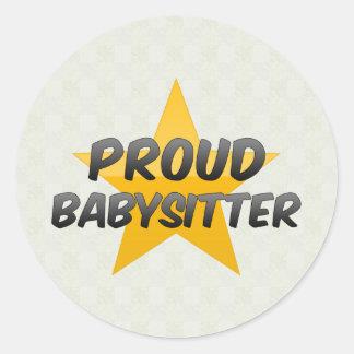 Proud Babysitter Classic Round Sticker