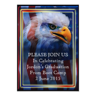 "Proud Bald Eagle Boot camp Graduation 5"" X 7"" Invitation Card"