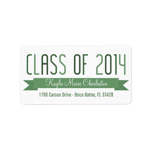 Proud Banner Graduation Labels - Green Labels