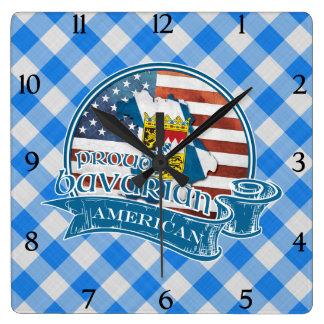 Proud Bavarian American Square Wall Clock