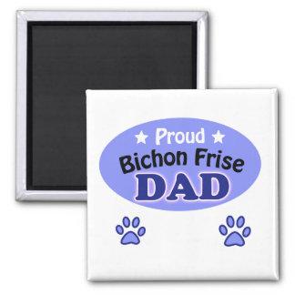 Proud Bichon Frise dad 2 Inch Square Magnet