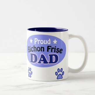 Proud Bichon Frise Dad Two-Tone Coffee Mug