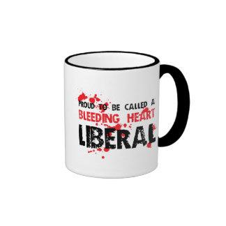 Proud Bleeding Heart Liberal Ringer Coffee Mug
