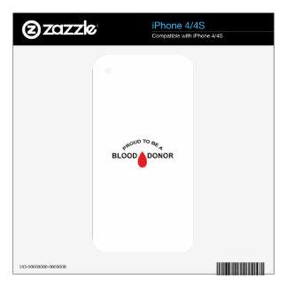 PROUD BLOOD DONOR SKINS FOR THE iPhone 4