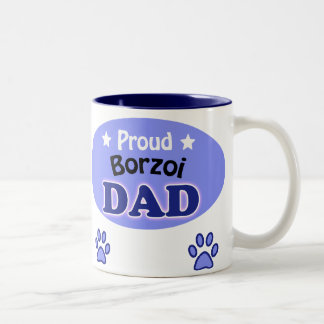 Proud borzoi Dad Two-Tone Coffee Mug